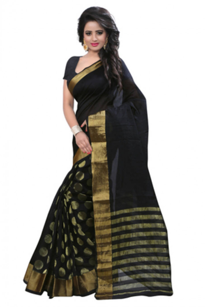 Buy Black and Gold plain Cotton Silk saree with blouse Online
