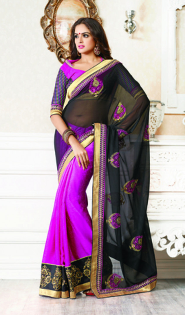 Buy Black and lavender embroidered chiffon saree with