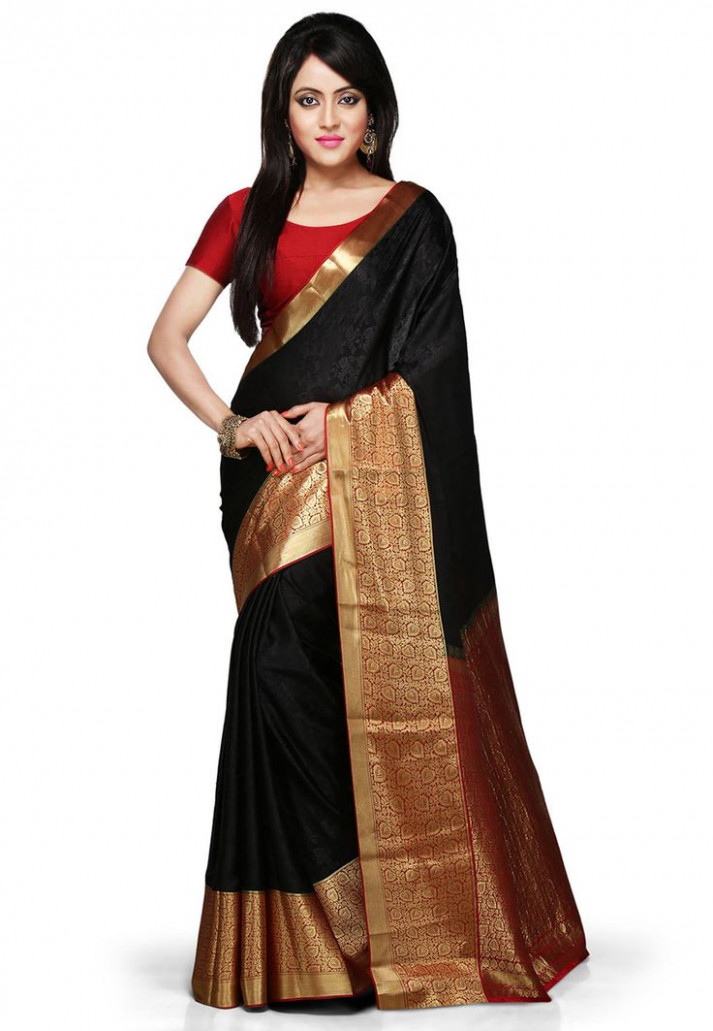 Buy Black and Red Pure Mysore Silk Saree with Blouse