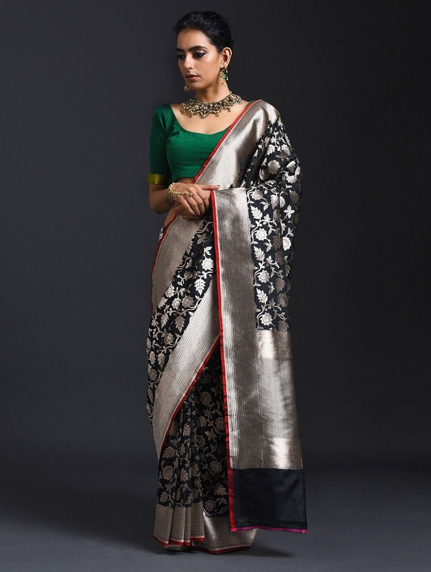 Buy Black Benarasi Pure Silk Saree Online at Jaypore.com