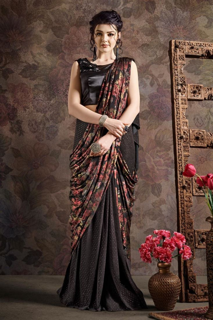 Buy Black Color Fancy Fabric Designer Indo Western Ready
