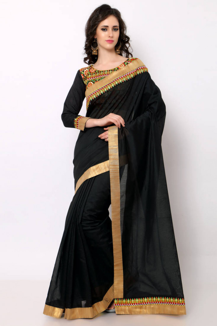 Buy black embroidered cotton saree with blouse Online