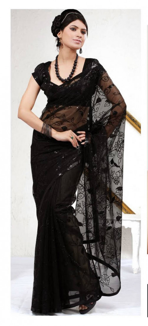 Buy Black embroidered Net saree with blouse Online