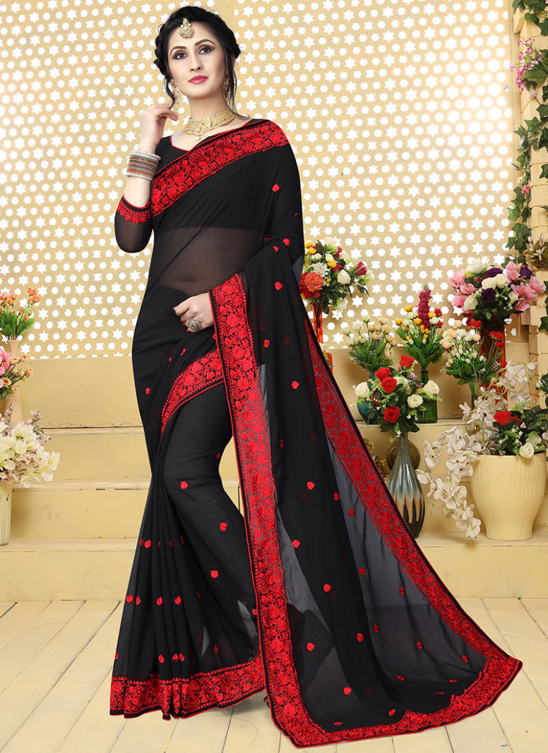 Buy Black Embroidered Saree, Embroidered , Stones , Zari