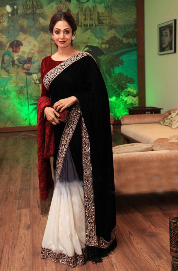 Buy Black embroidered velvet saree With Blouse Online