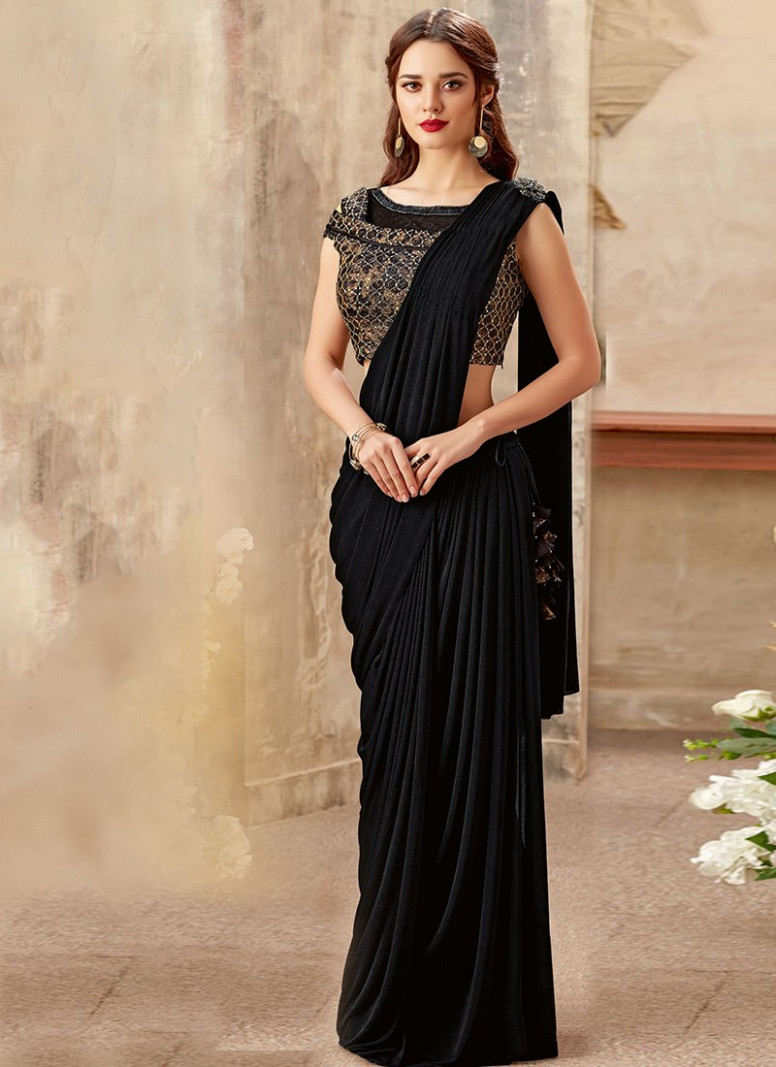 Buy Black Indowestern Saree, Party, indowestern saree
