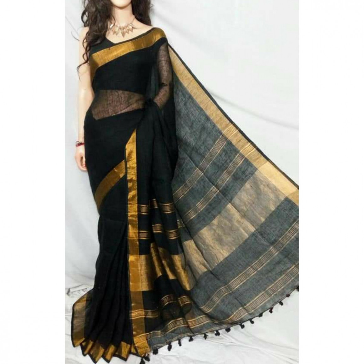 Buy Black linen saree with gold border Online shopping