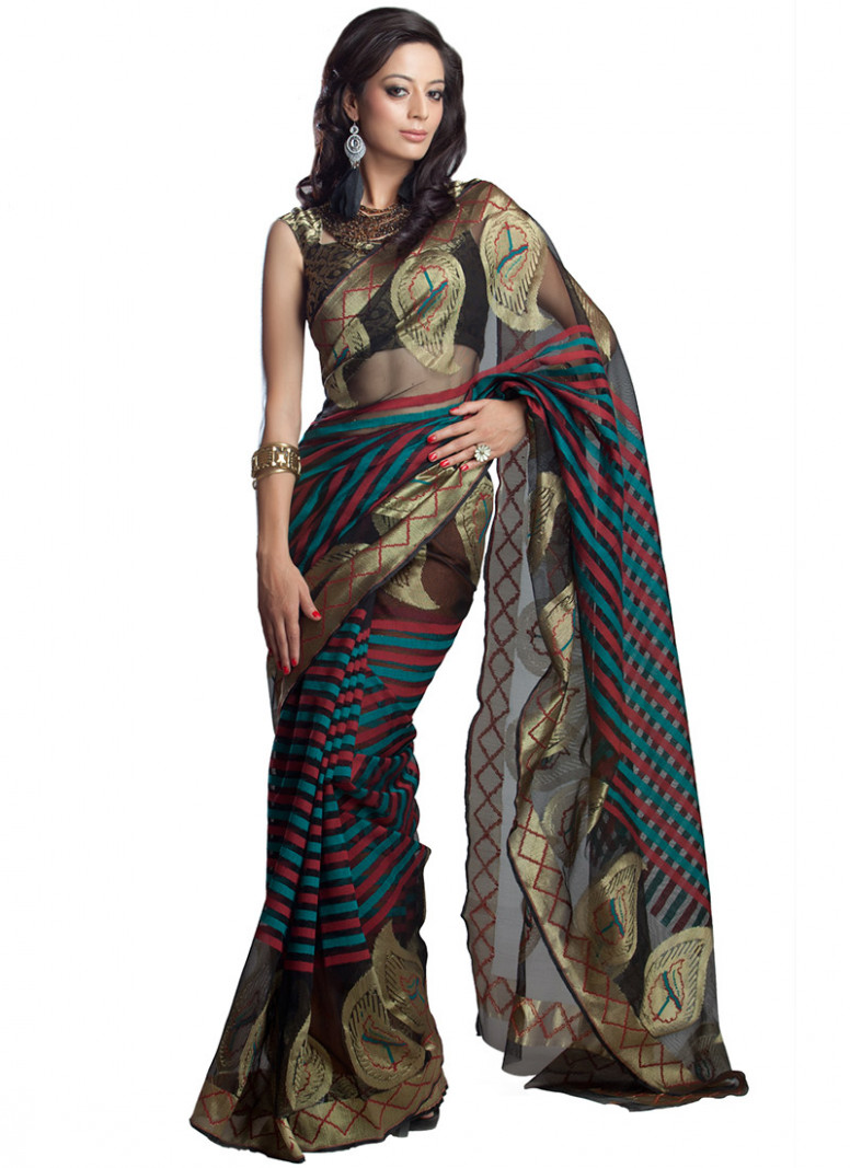 Buy Black Net Saree, Benarasi, sari Online Shopping