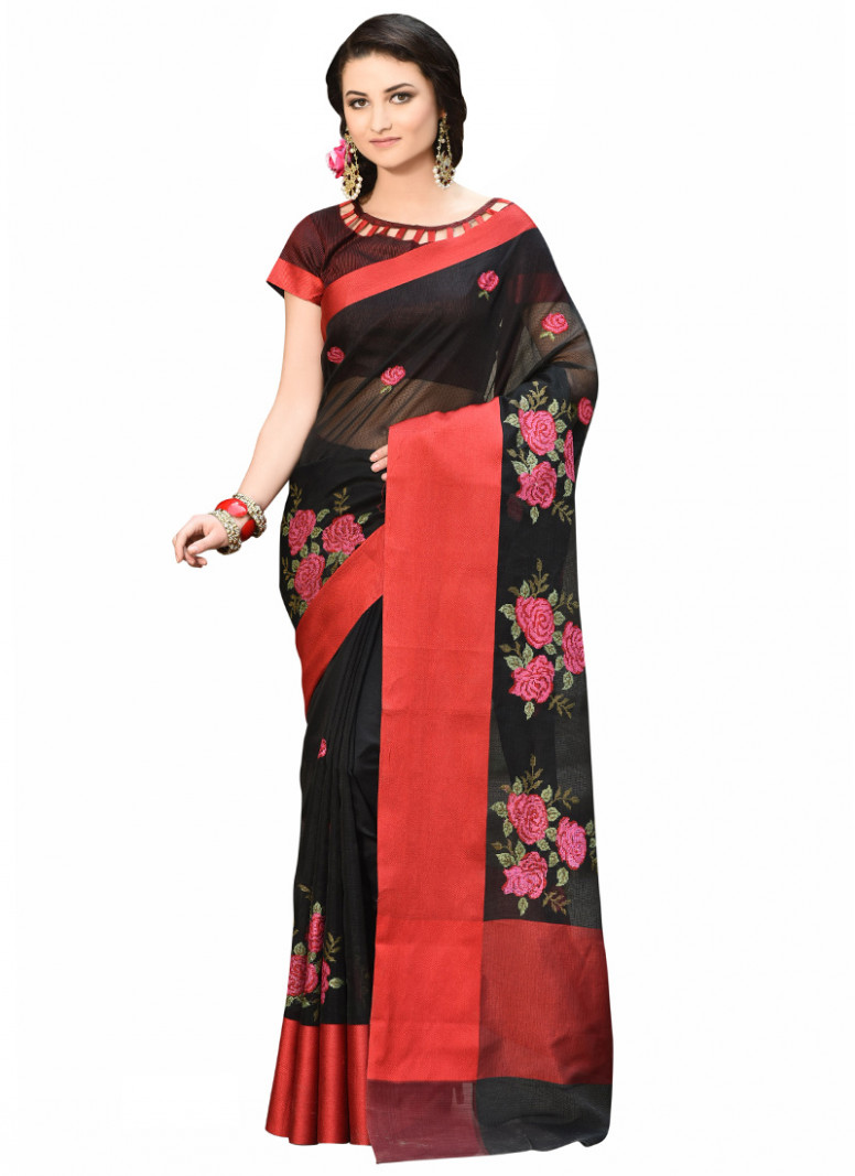 Buy Black Net Saree, sari Online Shopping, SAKRDB115N