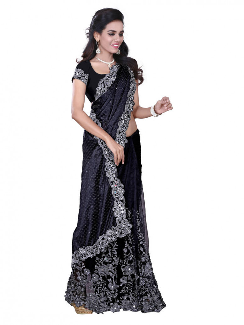 Buy Black Net Saree With Blouse Online - black saree blouse