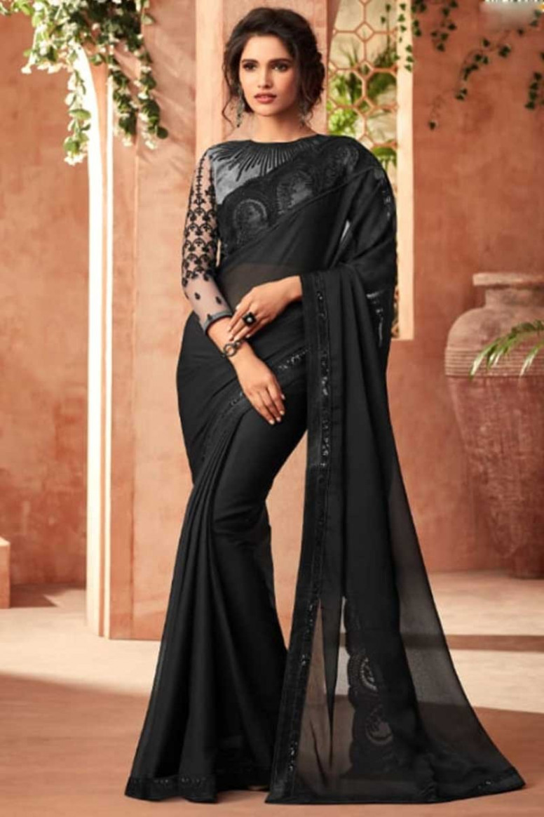 Buy Black Saree with Fancy Fabric Blouse Online - SARV0435