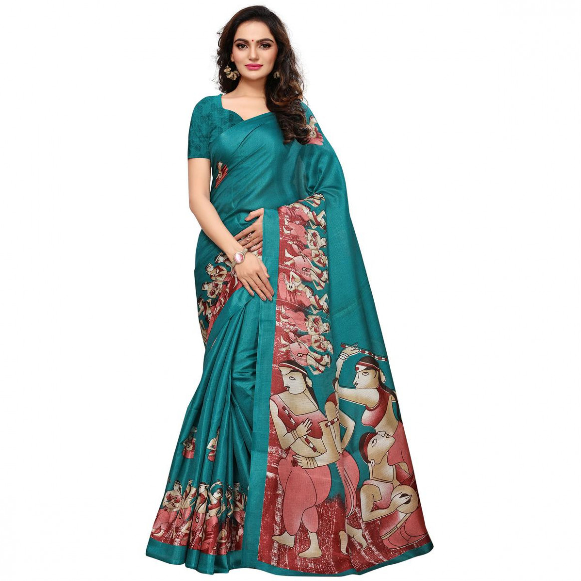 Buy Blissful Turquoise Blue Colored Casual Printed Khadi