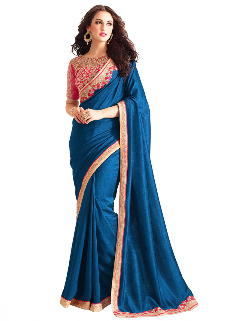 Buy Blue Art Silk Border Saree, sari Online Shopping