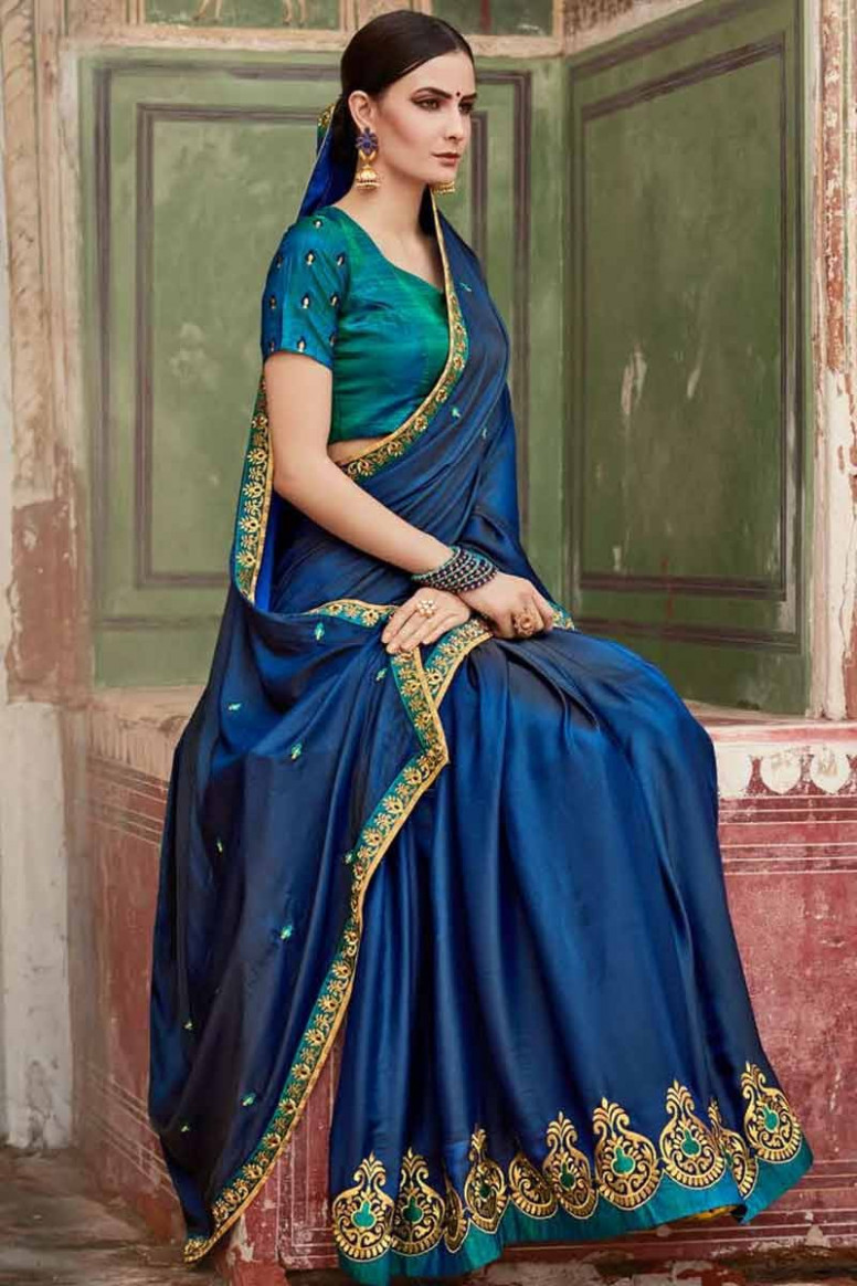 Buy Blue color Silk Saree With Silk Blouse Online