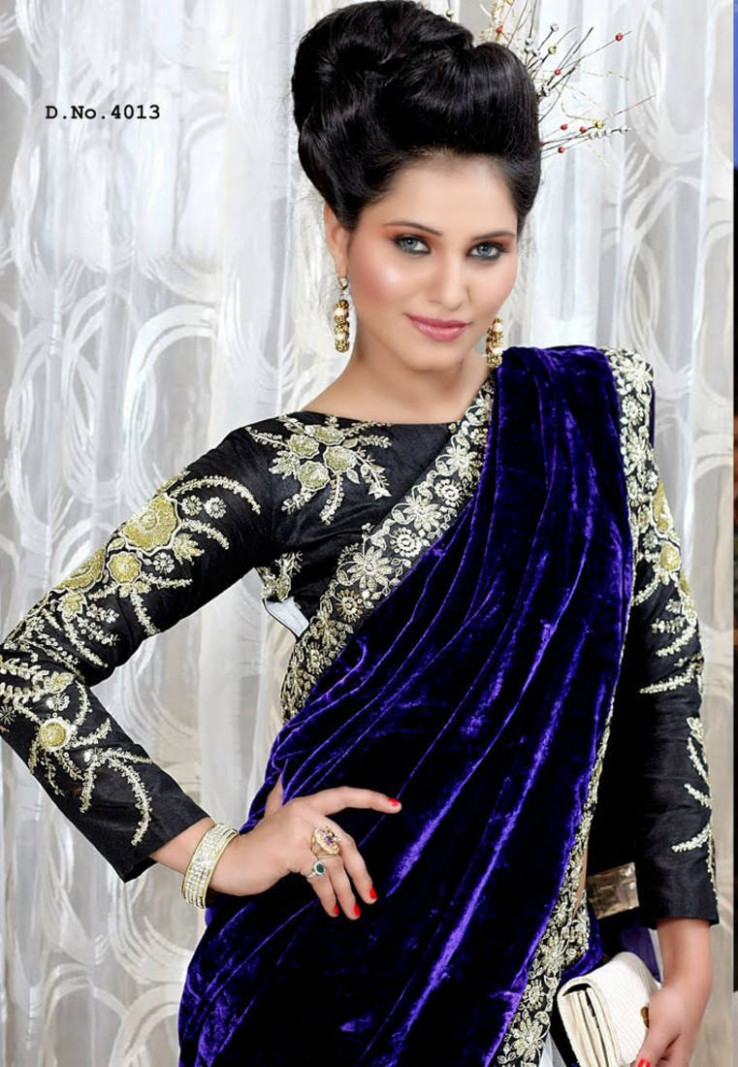 Buy Blue embroidered Velvet saree with blouse Online