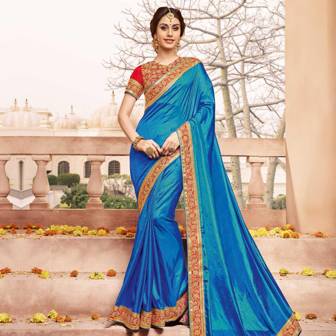 Buy Blue Party Wear Designer Saree for womens online India