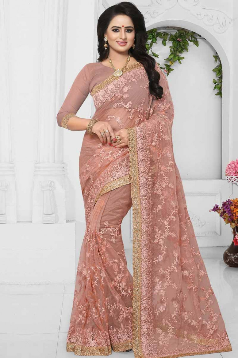 Buy Bollywood Designer Bridal Sarees Light Pink Net Diwali  - light pink saree