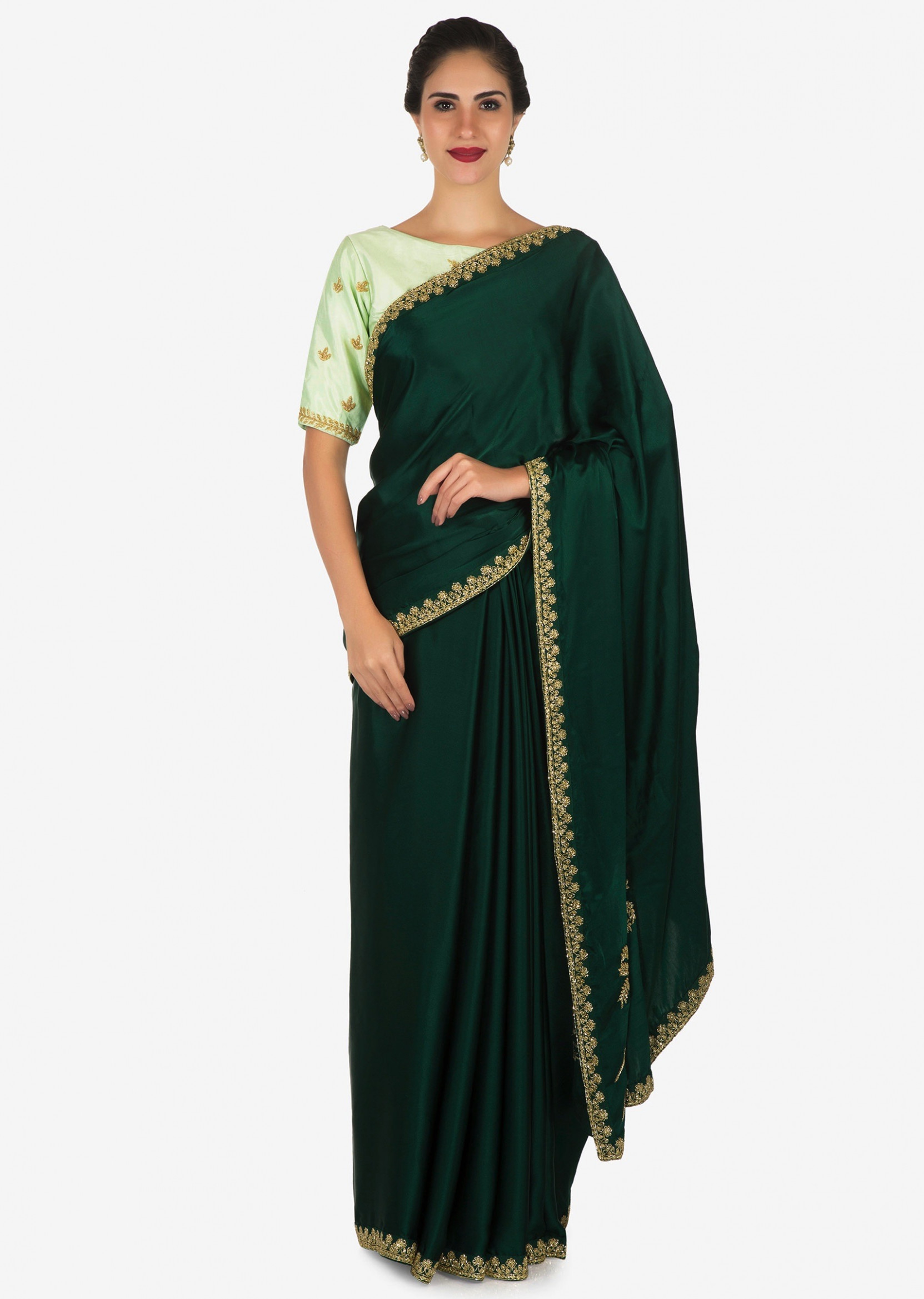 Buy Bottle Green Saree With Mustard Blouse Carved In Heavy