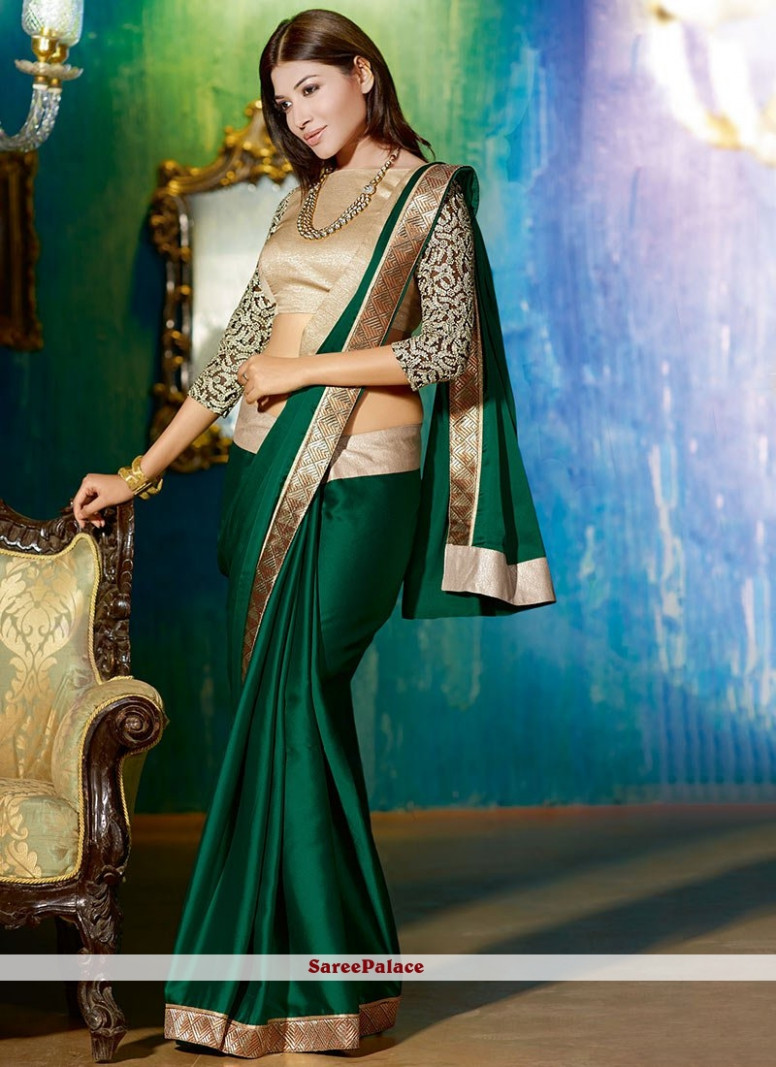 Buy Bottle Green Shaded Satin Saree Online