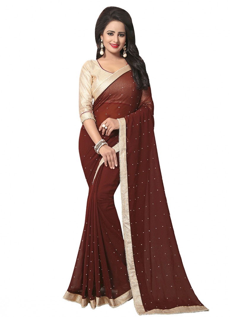Buy Brown Georgette Border Saree, sari Online Shopping