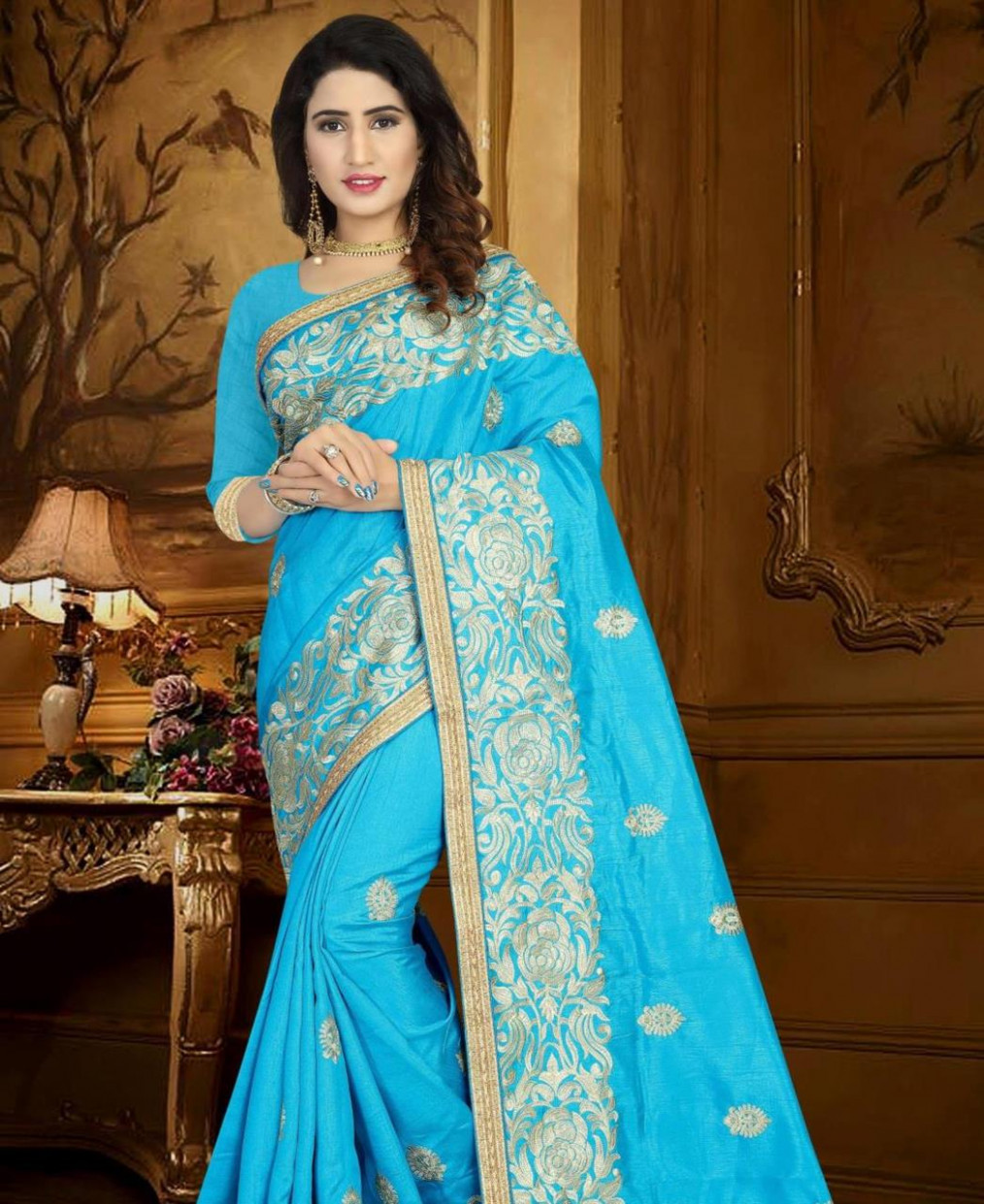 Buy Charming Light Blue Silk Saree [148025] at $58.03