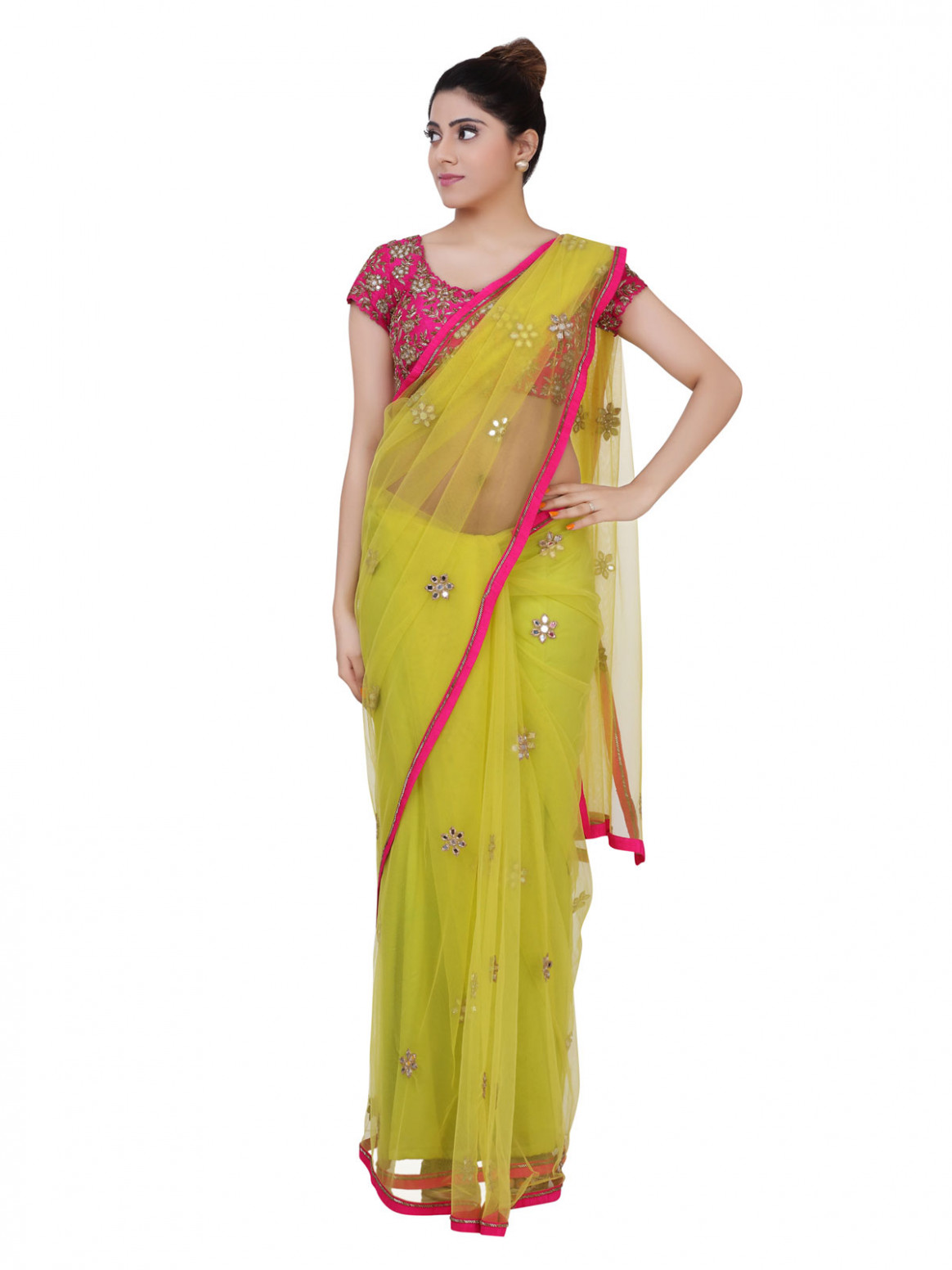 Buy Cherry Nair Couture Saree Lime Green Mirror Work Saree