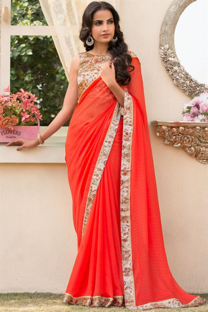 Buy Chiffon Plain Designer Saree In Red With Printed