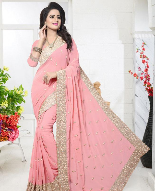 Buy Classy Baby Pink Georgette Saree [128788] at 73.57 (AUD)