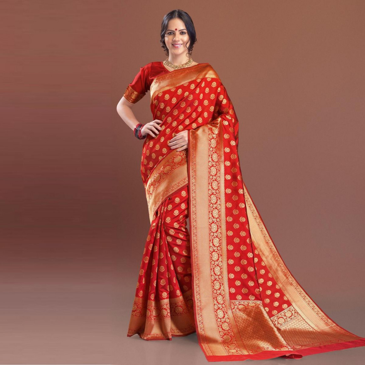Buy Classy Red Festive Woven Silk Saree online India, Best