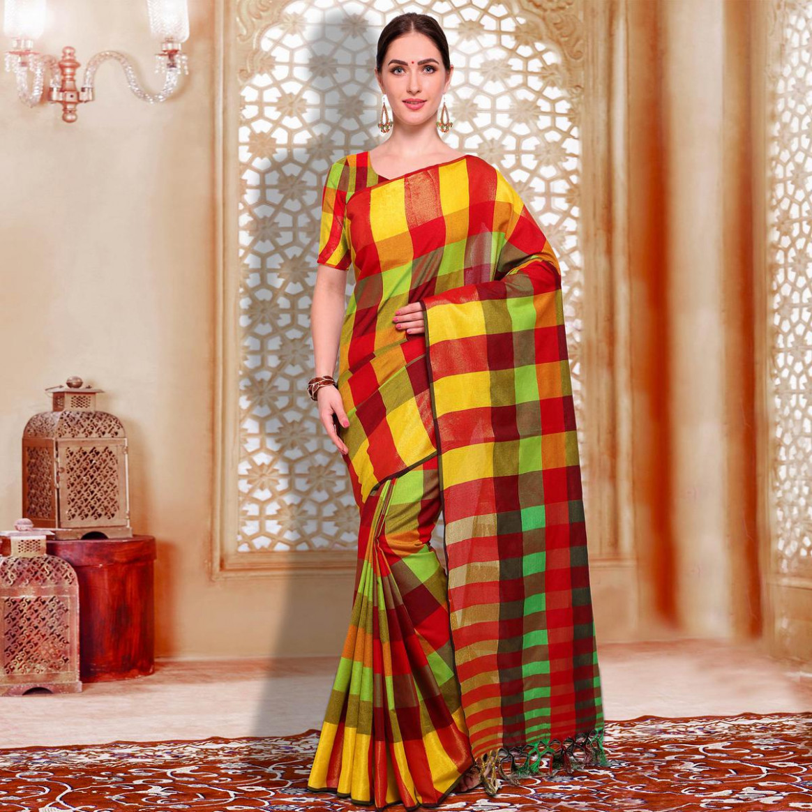 Buy Classy Red - Yellow Checked Casual Wear Cotton Silk