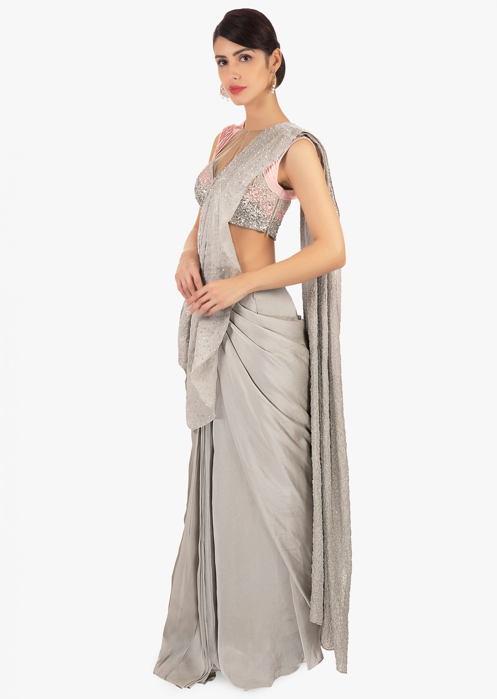 Buy Cloud Grey Pre Stitched Saree In Crepe With Ready