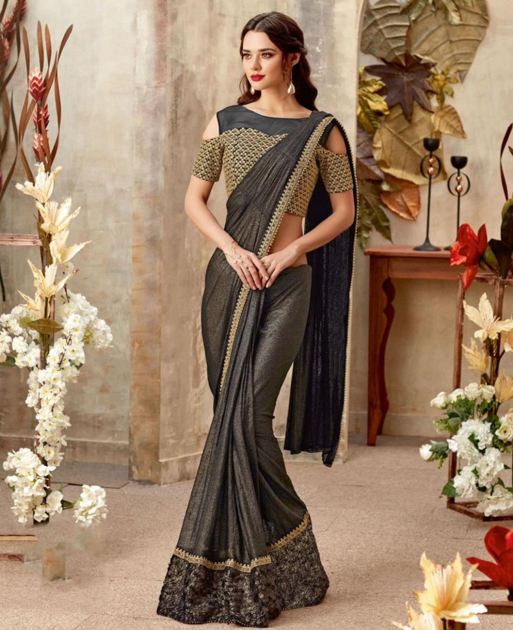 Buy Comely Black Party Wear Saree [162210] at £47.69