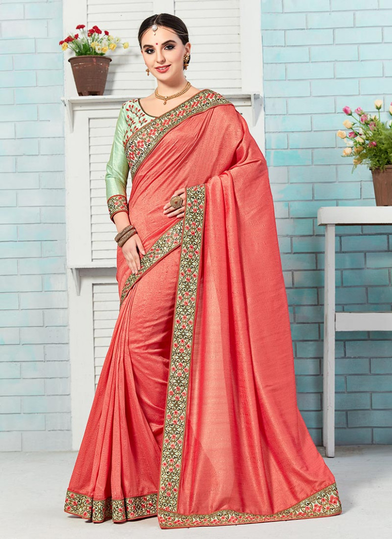 Buy Coral Pink Bhagalpuri Art Silk Border Saree, sari