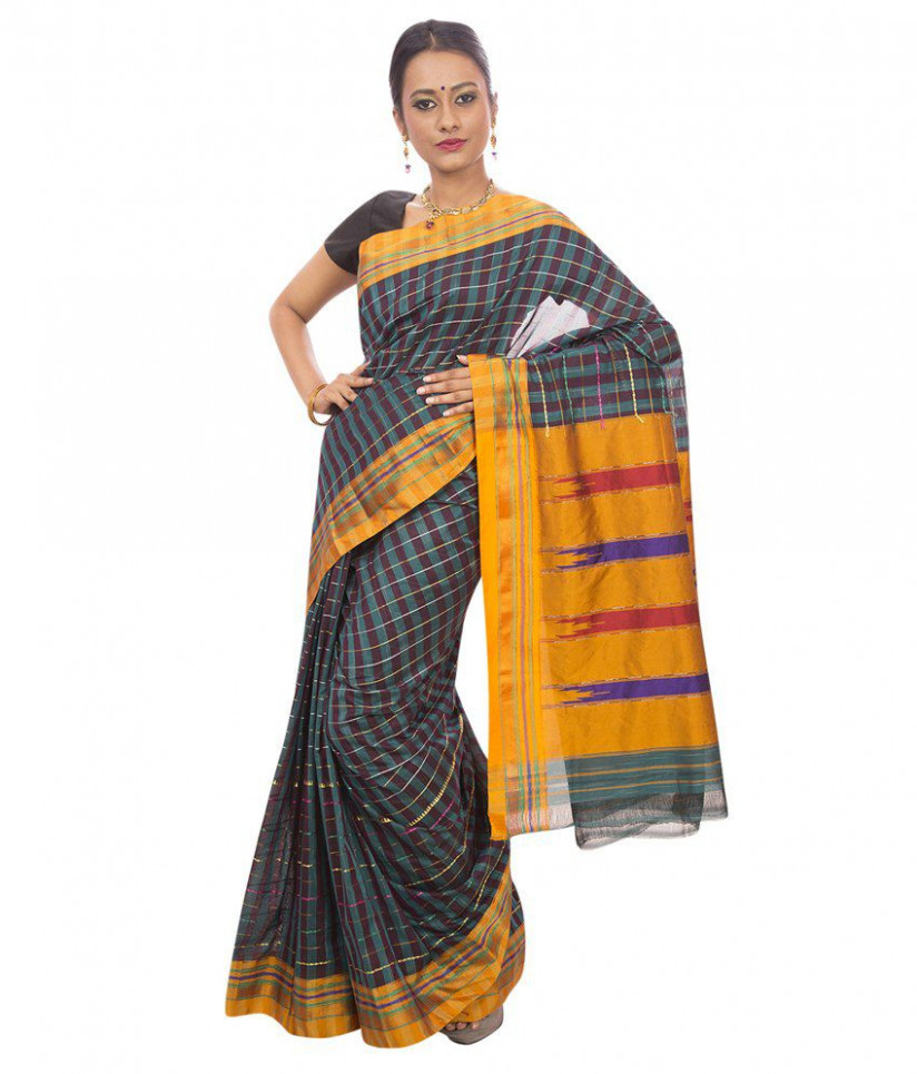 Buy Dhammanagi Cotton Silk Ilkal Saree With Blouse Piece