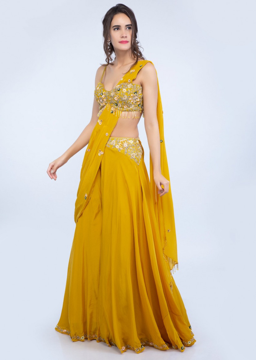 Buy Dustan Sun Mustard Palazzo Saree With Embroidered Crop