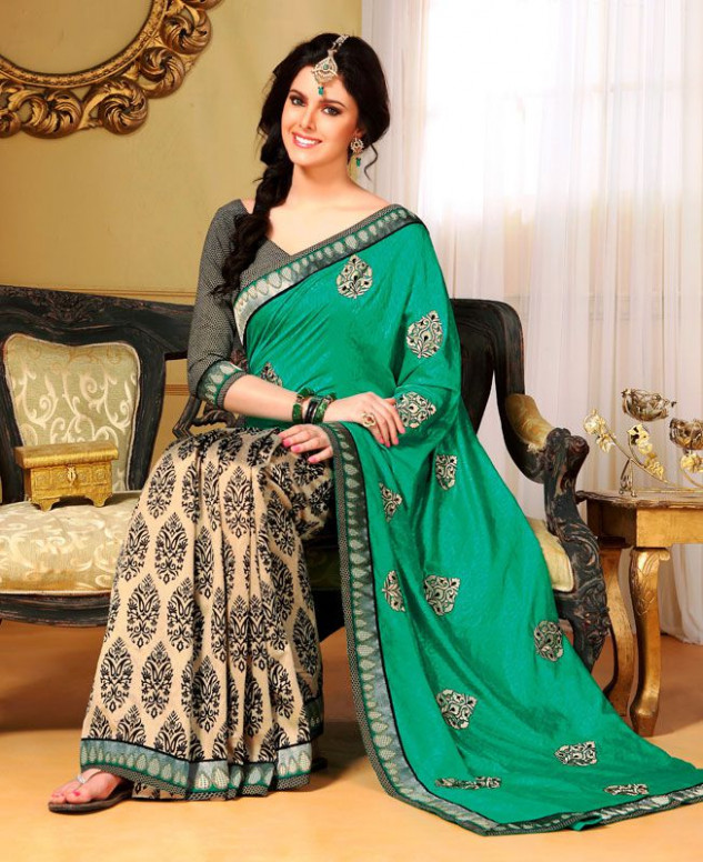 Buy Elegant Beige & Emerald Green Silk Saree [19206] at £31.82