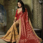 Buy Elegant Beige And Red Wedding Saree [49399] at ₹ 6,422.45