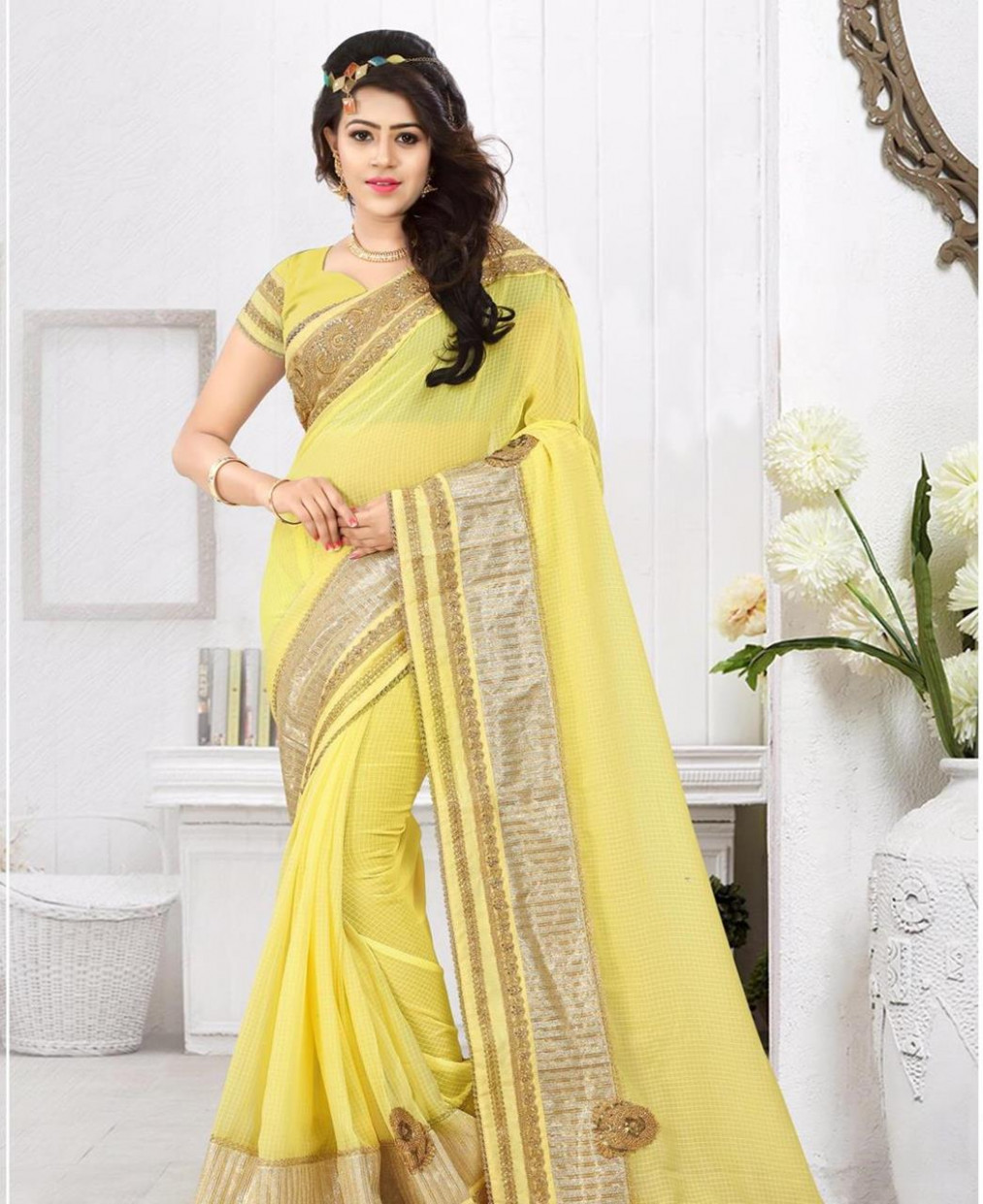 Buy Elegant Light Yellow Designer Saree [104310] at ₹ 2,439.84