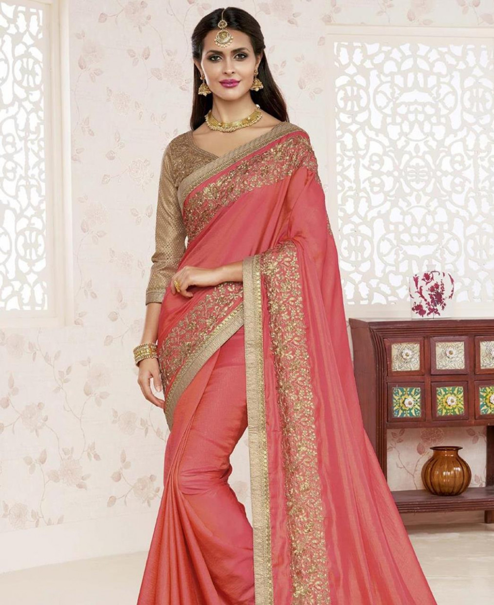 Buy Elegant Peach Fashion Saree [100913] at ₹ 4,169.53