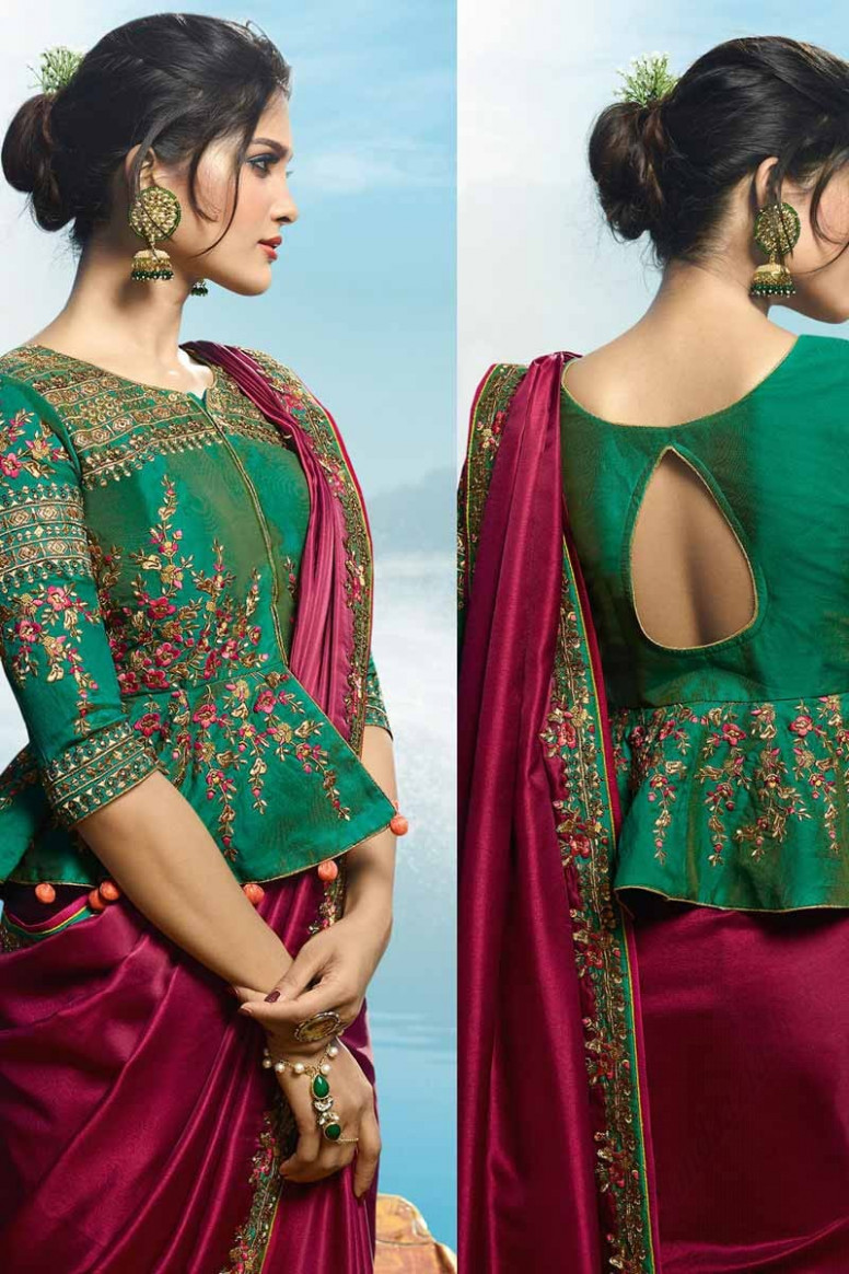 Buy Embroidered Wine Red Saree with Green Blouse Online