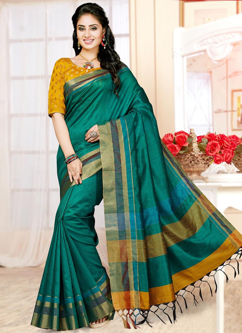 Buy Emerald Green Art Silk Saree, Festive, sari Online
