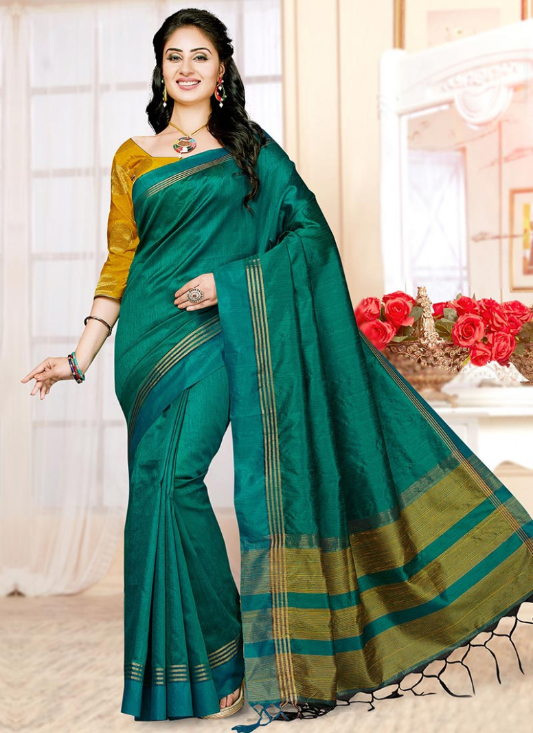 Buy Emerald Green Art Silk Saree, sari Online Shopping