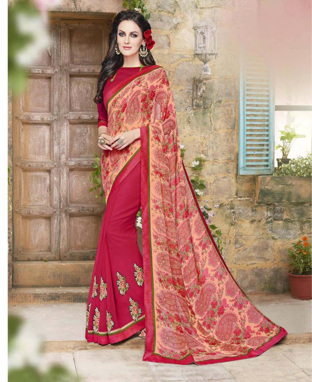 Buy Enticing Pink Casual Saree [105533] at £14.40