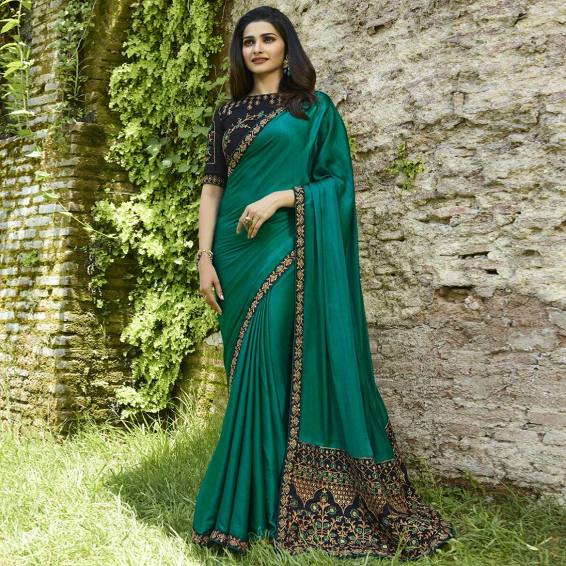 Buy Ethnic Teal Green Colored Partywear Embroidered Silk