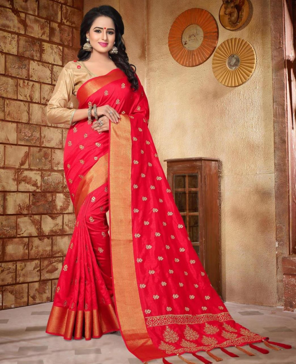 Buy Excellent Red Silk Saree [128255] at £41.57