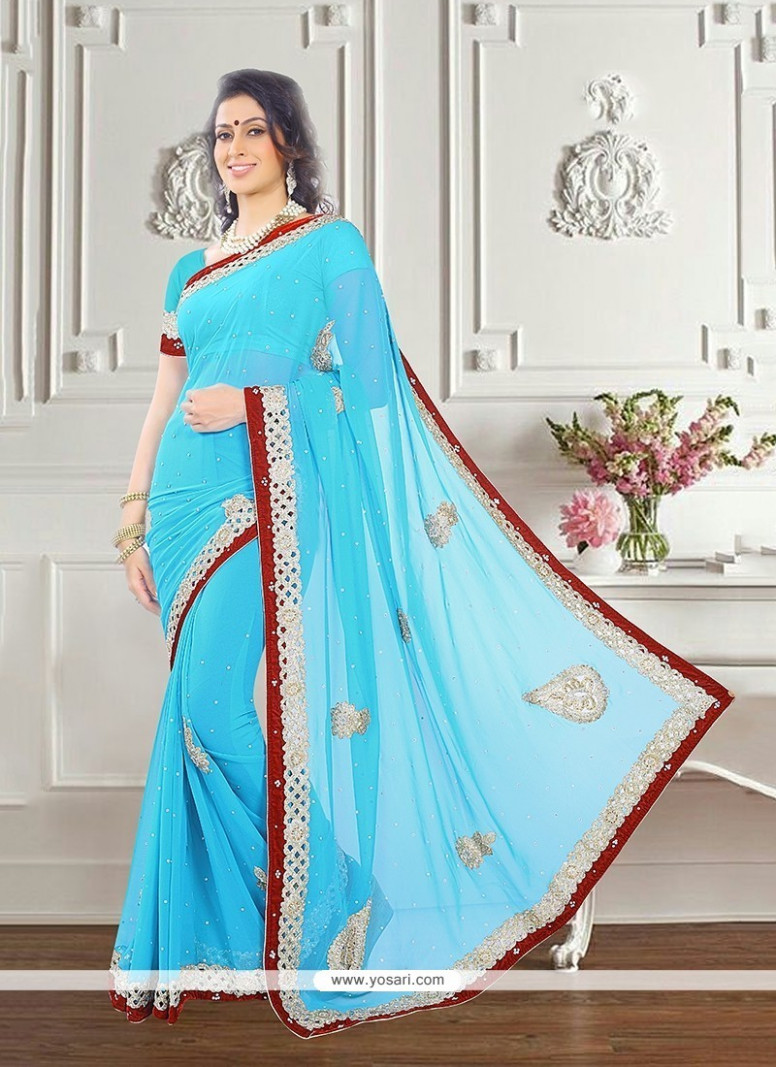 Buy Extraordinary Georgette Turquoise Classic Saree