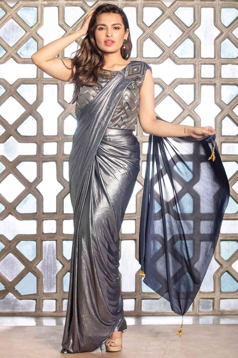 Buy Fashionable Silver Saree Online - Stylish Party Wear