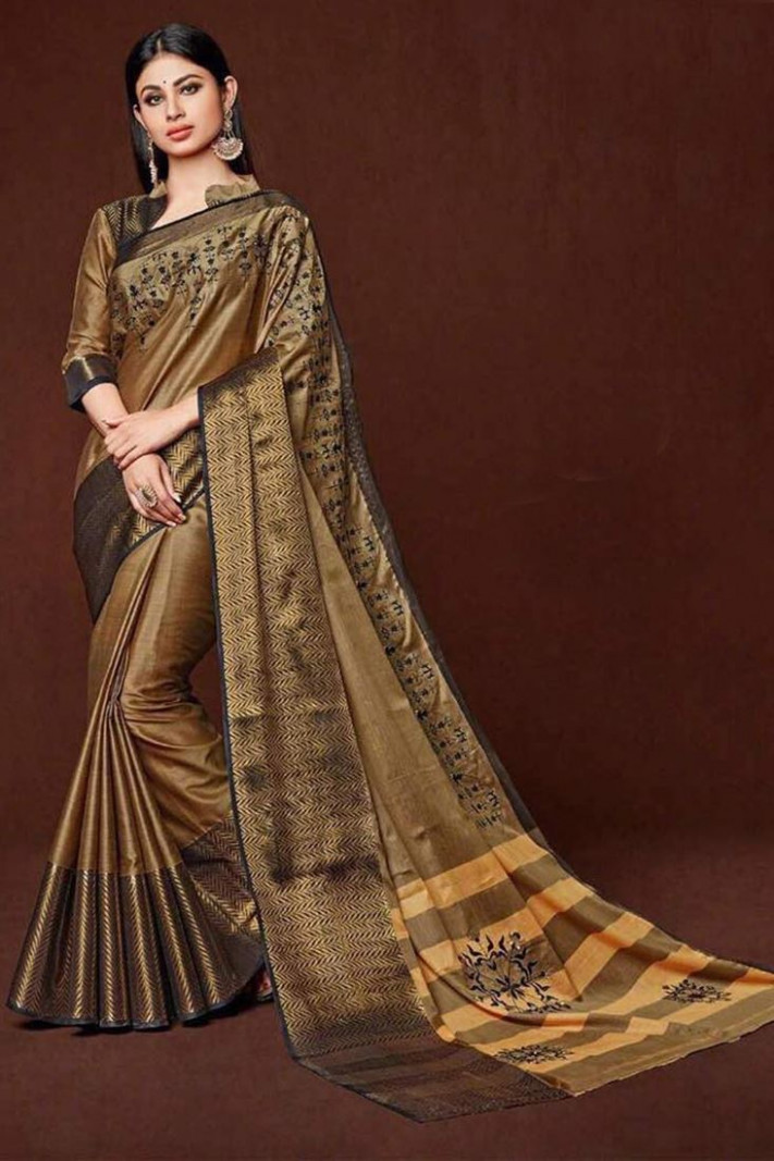 Buy Festive Wear Fabulous Silk Saree In Golden Color