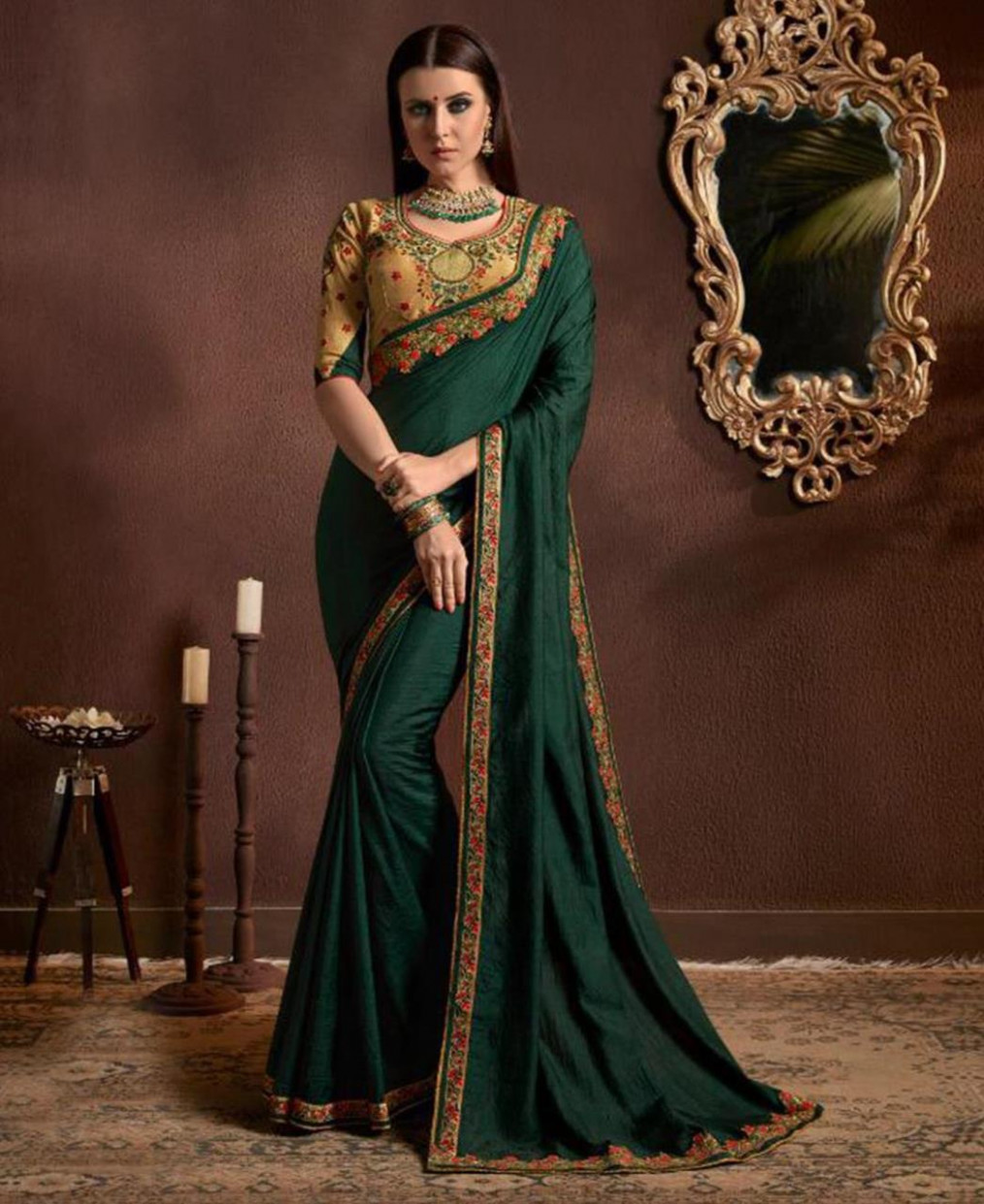 Buy Fine Forest Green Chiffon Saree [161078] at £28.64