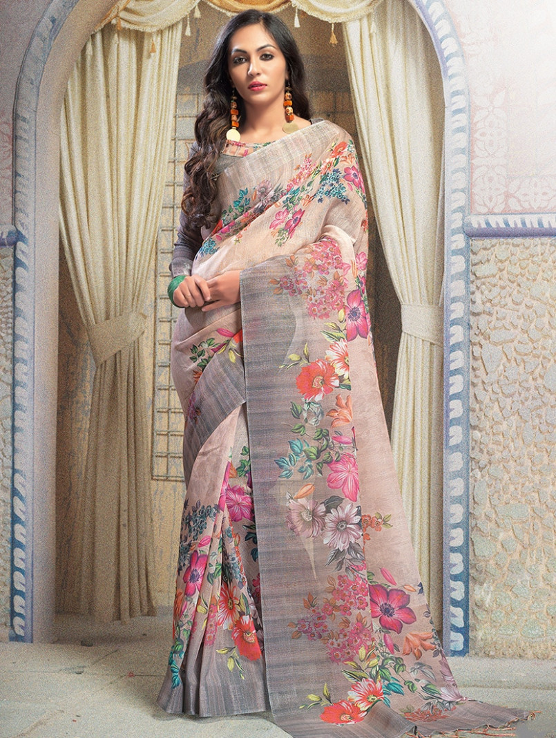 Buy Floral Digital Printed Linen Saree With Blouse for